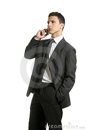 Businessman talking with cell mobile phone