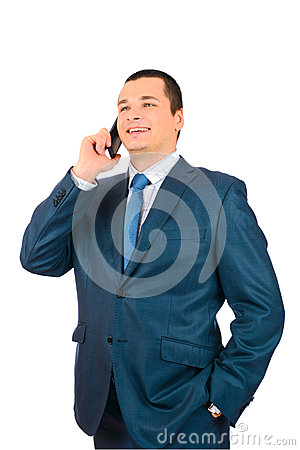 Businessman talking with cell phone