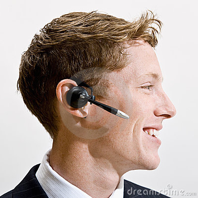 Businessman talking on headset
