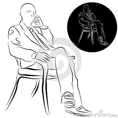 Businessman Talking on Phone Line Drawing