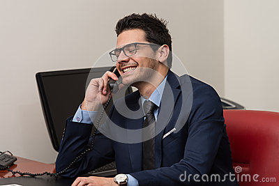 Businessman Talking On Telephone And Using Computer