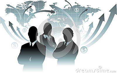 Businessman team in front of world map