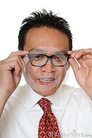 Businessman tests eyeglasses