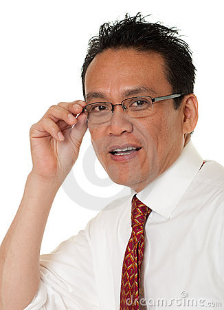 Businessman tests eyeglasses