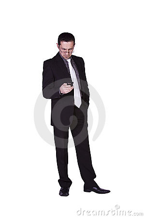 Businessman Texting On His Cell Phone