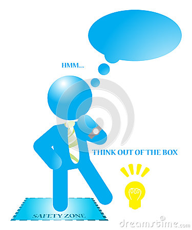 Businessman Think Out Of The Box Illustration