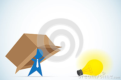 Businessman think outside the box, idea and business concept Vector Illustration