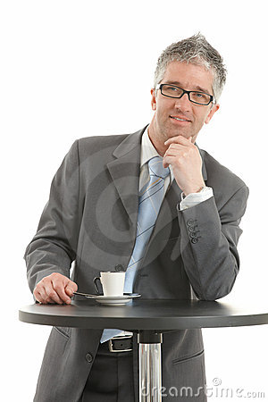 Free Businessman Thinking At Coffee Table Royalty Free Stock Photos - 9472318