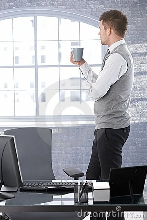 Free Businessman Thinking Drinking Tea Royalty Free Stock Photography - 19506597