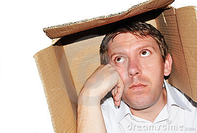 Businessman thinking inside the box