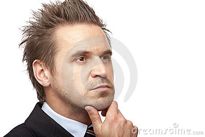 Businessman is thinking about problem