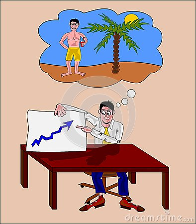 Businessman thinking to a vacation