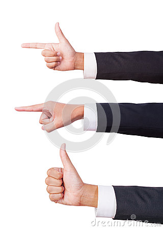 Businessman three hand sign