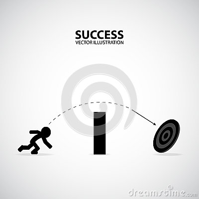 Businessman Throw Spear Over The Wall To The Target. Silhouette Graphic Design. Success Concept. Stock Photo