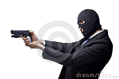 Businessman thug with a gun