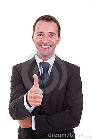 Businessman with thumb raised as a sign of success