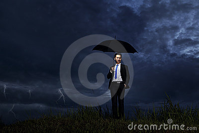 Businessman with thunderstorm