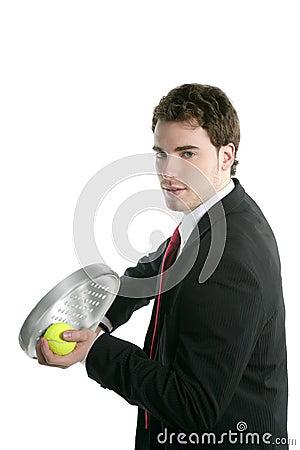 Businessman tie suit holding paddle tennis racket