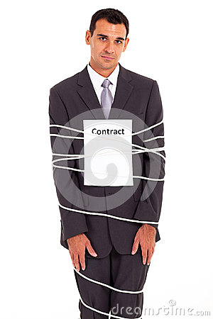 Businessman tied contract