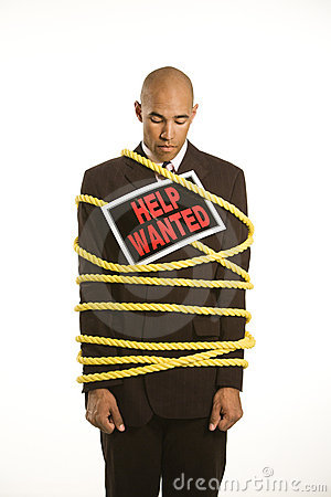 Businessman Tied In Rope. Stock Photography - Image: 2431822