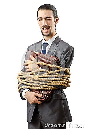 Businessman tied up