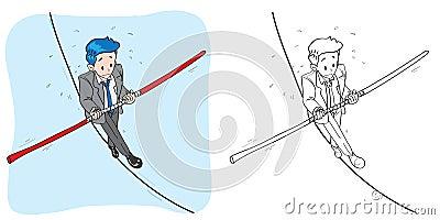 Businessman in tightrope circus cartoon