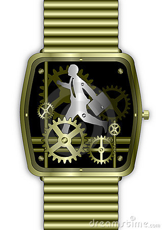 Businessman on Time running in gold watch