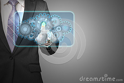 Businessman touch cloud shape filled with gears icon in space fo