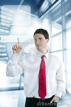 Businessman touch finger copy space pad