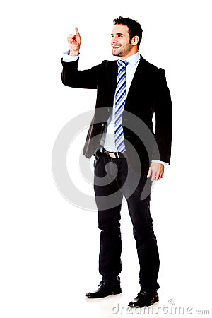 Businessman Touching Something Royalty Free Stock Images - Image: 26070119