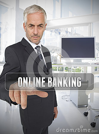 Businessman touching the term online banking