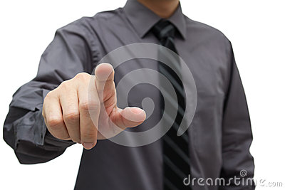 Businessman touching virtual interface