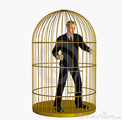 Free Businessman Trapped In Cage - Includes Clipping Path Royalty Free Stock Image - 158816