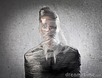 Businessman Trapped in the Plastic.