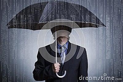 Businessman with an umbrella