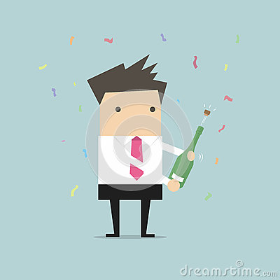Free Businessman Uncorking A Bottle Of Champagne Royalty Free Stock Photography - 75829747