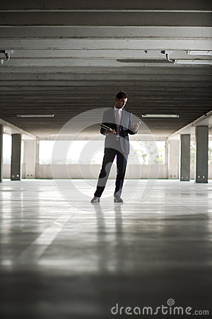 Businessman in underground parking
