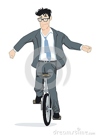 Businessman on unicycle