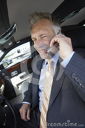 Businessman Using Cellphone In Car