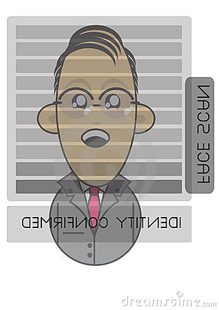 Businessman using face recognition screen