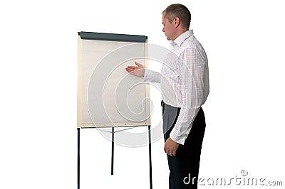 Businessman using a flip chart