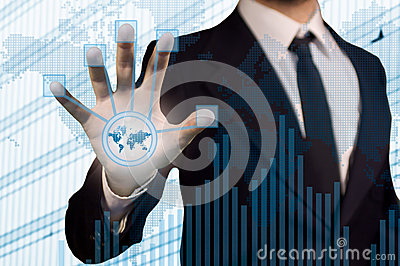 BusinessMan using futuristic touch screen to conne