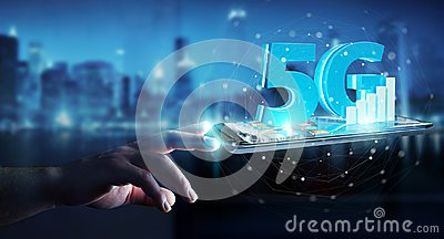 Businessman using 5G network with mobile phone 3D rendering Stock Photo