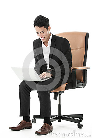 Businessman using his laptop