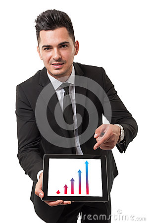 Free Businessman Using His Tablet To Show Performance Royalty Free Stock Photo - 38569365