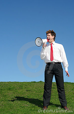 Businessman Using a Megaphone