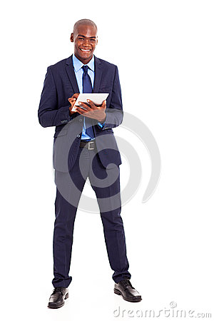 Businessman using tablet