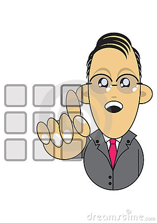 Businessman using touchscreen illustration