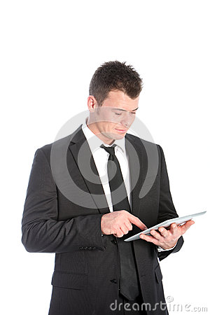 Businessman using a touchscreen tablet