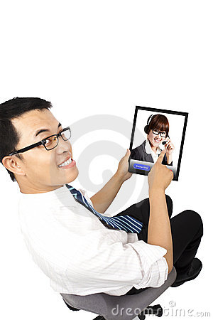 Businessman using video conference with  Customer